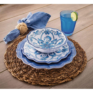 "18 Piece Melamine Dinnerware Set Blue""French Country"""