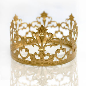 Craft and Party Mini Prinrcess Gold Crown Cake Topper for wedding party cake decoration. (Gold)