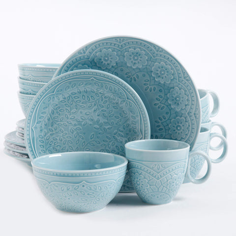Gibson Elite Alemany 16 Piece Dinnerware Set, Aqua