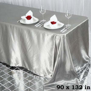 Efavormart 90x132 Rectangle Silver Wholesale Satin Tablecloth Banquet Linen Wedding Party Restaurant Tablecloth