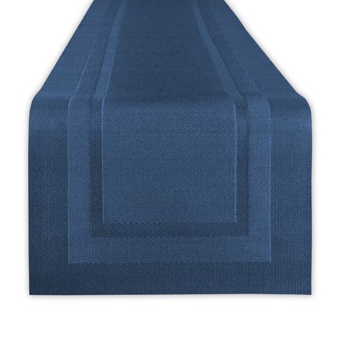 DII Everyday, Easy to Clean Indoor/Outdoor Woven Vinyl 14x72 Double Border Table Runner, Nautical Blue