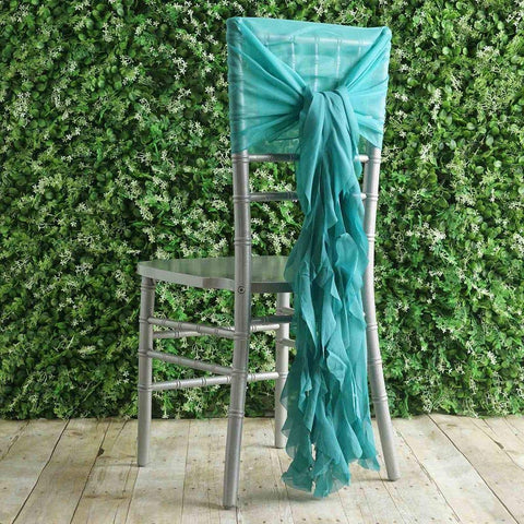 1 Premium Chair Cover with Curly Chiffon Ruffled Sashes for Wedding Decorations (Turquoise)