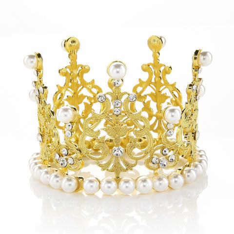 JANOU Crown Tiara Cake Topper Crystal Pearl Children Hair Ornaments for Wedding Birthday Party Cake Decoration (Gold)