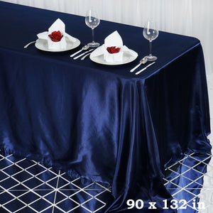 BalsaCircle 90x132 inch Navy Blue Satin Rectangle Tablecloth Table Cover Linens Wedding Table Cloth Party Reception Events Kitchen Dining