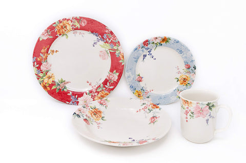 Tudor Royal Collection 24-Piece Premium Quality Porcelain Dinnerware Set, Service for 6 - CRIMSON; See 10 Designs Inside!