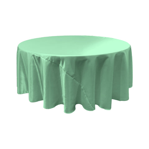 LA Linen Bridal Satin Round Tablecloth, 120-Inch, Mint