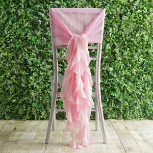 BalsaCircle 10 Pink Premium Curly Chiffon Chair Cover Caps with Sashes - Wedding Party Ceremony Reception Decorations Supplies