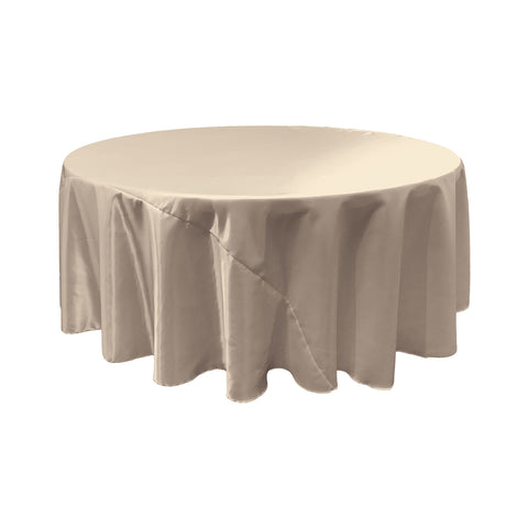 LA Linen Bridal Satin Round Tablecloth, 120-Inch, Silver