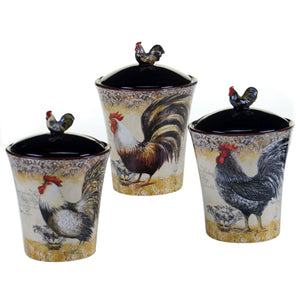 Certified International 57480 3 Piece Vintage Rooster Canister Set, Multicolor