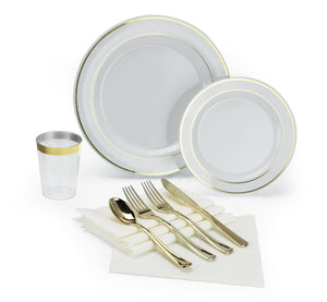 """ OCCASIONS"" 200 piece/ 25 guest Wedding Party, Heavyweight Disposable Dinnerware Set - Wedding Plastic Plates, linen like paper napkins, gold rim cups & Silverware (White w/gold rim)"