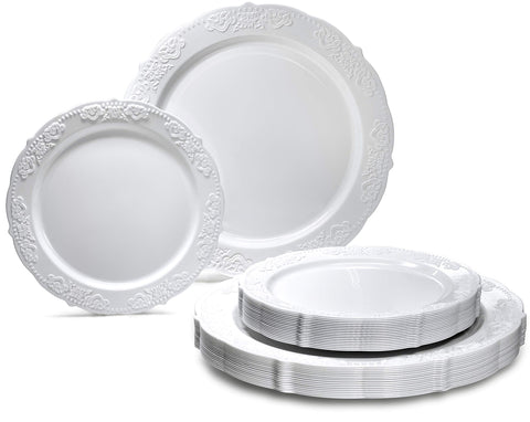 OCCASIONS 120 PACK Vintage Heavyweight Wedding Party Disposable Plastic Plates Set - 60 x 10.25'' Dinner + 60 x 7.5'' Salad/Dessert Plate (Portofino in Plain White)