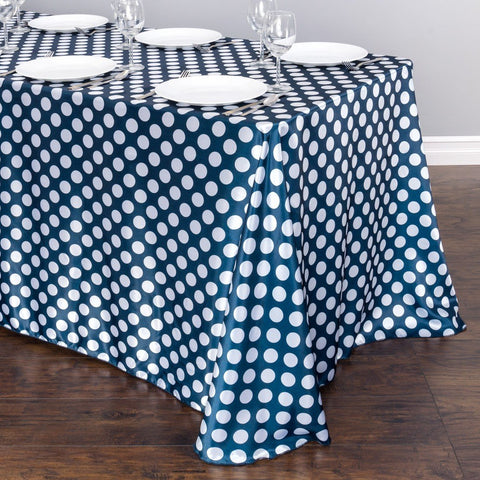 90 x 156 in. Rectangular Polka Dot Satin Tablecloth Navy Blue / White