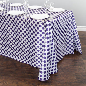 90 x 156 in. Rectangular Polka Dot Satin Tablecloth White / Purple