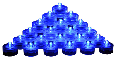 SAMYO Set of 24 Waterproof Wedding Submersible Battery LED Tea Lights Underwater Sub Lights- Wedding Centerpieces Party Decorate (Blue)