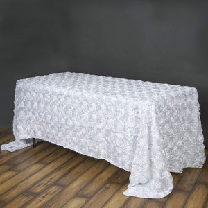 "QueenDream 3D Floral Tablecloth Rectangular 90""x156""White Rosette Satin Tablecloths Overlay for Wedding Party Event Decoration"