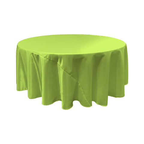 LA Linen Bridal Satin Round Tablecloth, 120-Inch, Lime