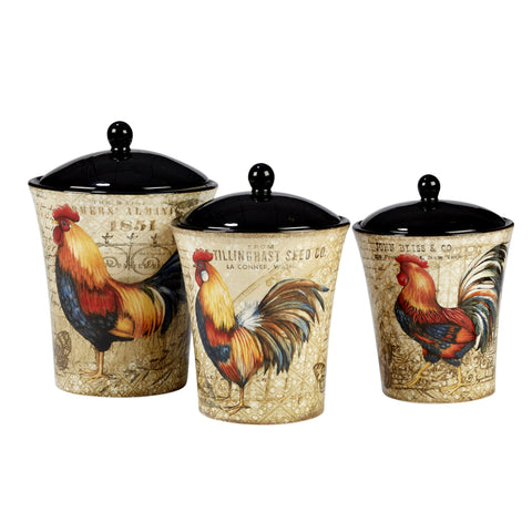 Certified International 23656 Gilded Rooster Canister Set (3 Piece) One Size Multicolor