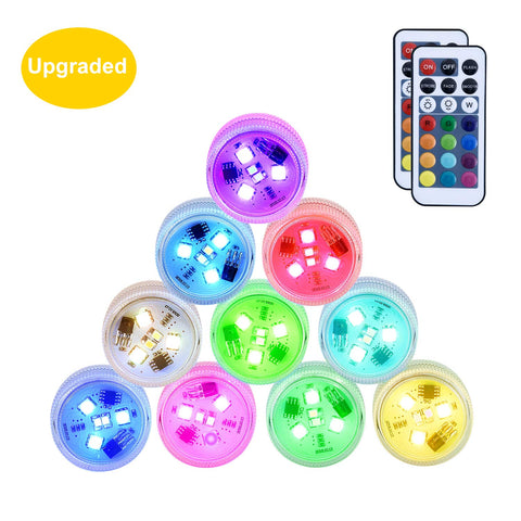 Small Submersible LED Lights with Remote Mini Waterproof Underwater Wedding Tea Light Battery Operated Festival Flameless Candles Decor for Vase, Bowls, Aquarium, Christmas Home Party Decoration 10Pcs