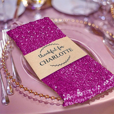 "Efavormart Tableclothsfactory 1 PC Fushia Premium 20"" x 20"" Washable Sequin Napkins Great for Wedding Party Restaurant Dinner Parties Decoration"