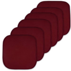 "Sweet Home Collection Cushion Memory Foam Chair Pads Honeycomb Nonslip Back Seat Cover 16"" x 16"" 6 Pack Wine Burgundy"