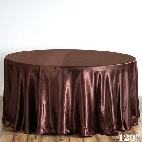 BalsaCircle 120 inch Chocolate Brown Satin Round Tablecloth Table Cover Linens for Wedding Table Cloth Party Reception Events Kitchen Dining