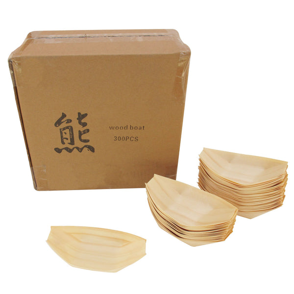 "BambooMN Brand - Disposable Wood Boat Plates/Dishes, 5.25"" Long x 3"" Wide x 1"" High, 100 Pieces"