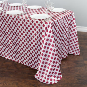 90 x 156 in. Rectangular Polka Dot Satin Tablecloth White / Burgundy