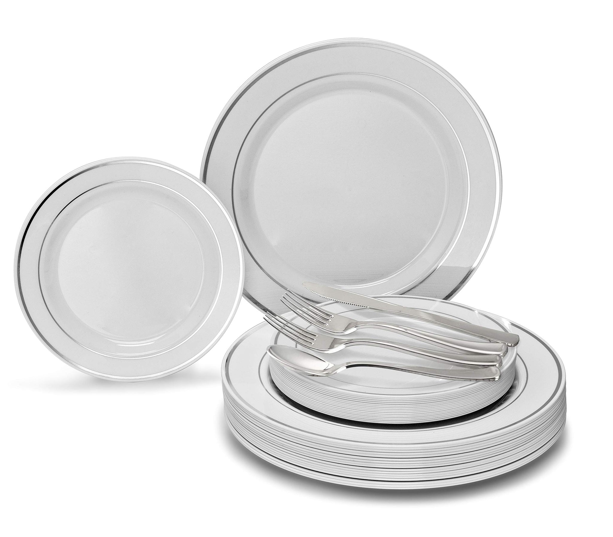 """ OCCASIONS"" 720 PCS / 120 GUEST Wedding Disposable Plastic Plate and Silverware Combo Set, (White/Silver Rim plates, Silver silverware)"