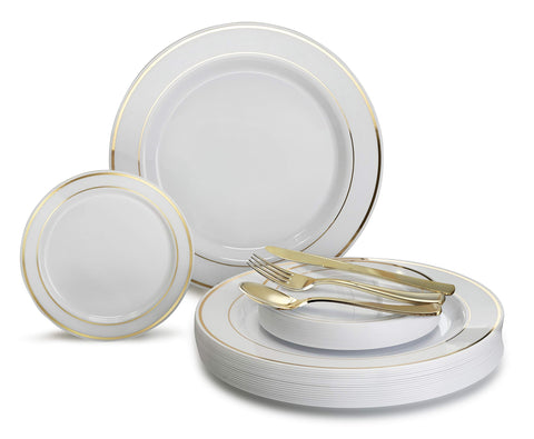 """ OCCASIONS"" 300 PCS / 60 GUEST Wedding Disposable Plastic Plate and Silverware Combo Set, (White/Gold Rim plates, Gold silverware) …"