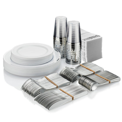 25 Guest Disposable Silver Dinnerware Set | Heavy Duty Plastic Plates, Cups, Silverware & Napkins. 50 Forks, 25 Spoons, 25 Knives, 25 Dinner Plates, 25 Dessert Plates & 25 Cups | Bonus 50 Guest Towels