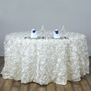 "BalsaCircle 120"" Ivory Satin Raised Rosettes Round Tablecloth Wedding Party Dining Room Table Linens"