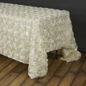BalsaCircle 90x156 Ivory Satin Raised Rosettes Rectangle Tablecloth Wedding Party Dining Room Table Linens