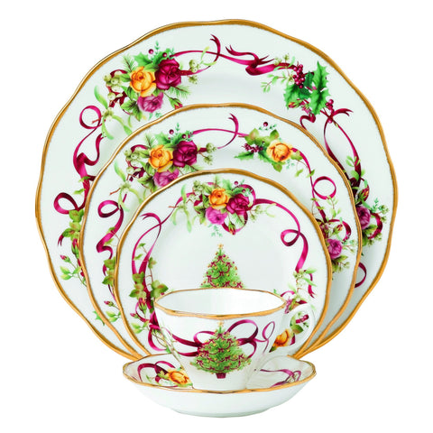 Royal Albert Old Country Roses Christmas Tree Place Setting, 5-Piece