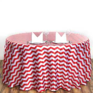 "Efavormart 120"" Round Satin Seamless Tablecover Chevron Stripes Tablecloths for Party Event Decorations - Red/White"