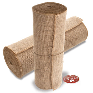 "Burlap Table Runners - 14"" Wide X 10 Yards Long Burlap Roll - Burlap Fabric Rolls. A NO-FRAY Burlap Runner with OVERLOCKED and Sewn Edges for Rustic Weddings, Decorations and Crafts!"