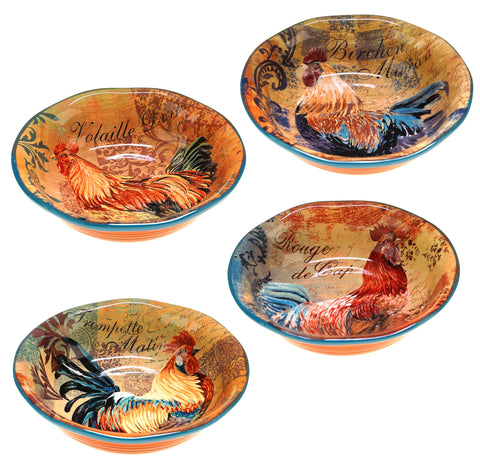 Certified International Rustic Rooster Soup/Cereal Bowls, 8.75-Inch, Multicolor, Set of 4