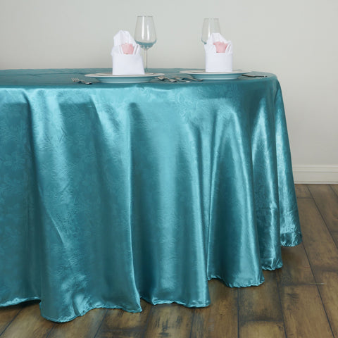 "Efavormart 120"" Adoringly Adorned Lily Satin Round Tablecloth Premium Satin Table Covers for Wedding Party Events - Turquoise"