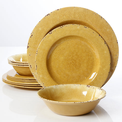 Studio California Mauna Crackle 12 Piece Melamine Dinnerware Set, Yellow