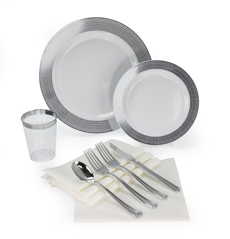""" OCCASIONS"" 200 piece/ 25 guest Wedding Party, Heavyweight Disposable Dinnerware Set - Wedding Plastic Plates, linen like paper napkins, silver rim cups & Silverware (Linen White and Silver)"