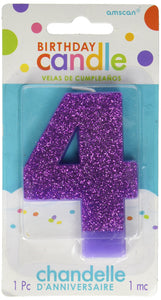 #4 Glitter Birthday Candle | Purple | Party Supply