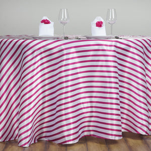 "Efavormart 120"" Stripe Wholesale Satin Round Banquet Table Cover Wedding Party Shinny Satin Tablecloth - White/Fushia"