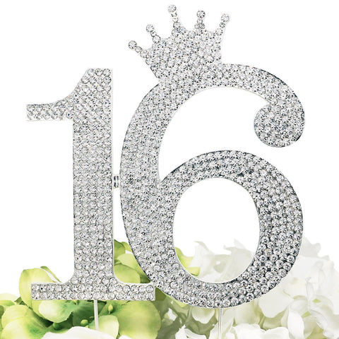 Number 16 Rhinestone Princess Crown Monogram Cake Topper - Sweet 16th Birthday Party (Silver)