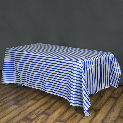 Efavormart 90x132 Stripe Wholesale Satin Rectangle Banquet Table Cover Wedding Party Shinny Satin Tablecloth - White/Royal Blue