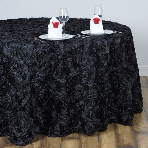 "Efavormart 132"" Wholesale Round Table Cover Black Grandiose Rosette 3D Satin Tablecloth for Wedding Party Event Decoration"
