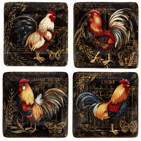 Certified International 23662SET4 Gilded Rooster Dinnerware.Tabletop One Size Multicolored