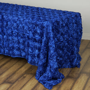 BalsaCircle 90x132 Royal Blue Satin Raised Rosettes Rectangle Tablecloth Wedding Party Dining Room Table Linens