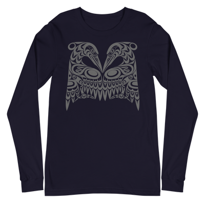 Dual Heron - Unisex Long Sleeve T-Shirt | Salish.Design: Coast Salish Art Clothing