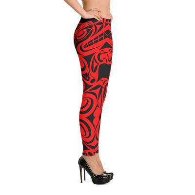 Wolf - Women's Coast Salish Leggings | Salish.Design: Coast Salish Art Clothing