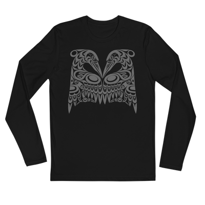 Dual Heron - Long Sleeve Fitted T-Shirt | Salish.Design: Coast Salish Art Clothing