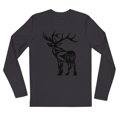 Elk - Long Sleeve Fitted T-Shirt | Salish.Design: Coast Salish Art Clothing